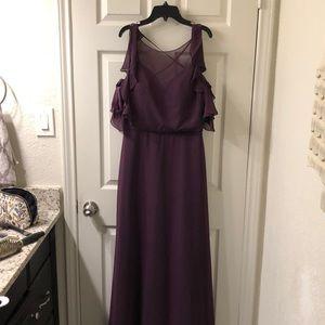Mori Lee 21552 Chiffon Bridesmaids Dress Eggplant